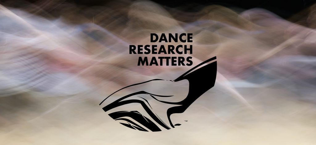 Dance Research Matters transparent logo with Dance Research Matters text and black swirling shapes in the centre on top of a blurred image of swirling dancers. Event image banner.
