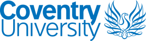 """Coventry University Logo. Blue text """"Coventry University"""" and blue Phoenix illustrations to the right."""